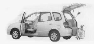 Toyota Corolla Spacio WELCAB PASSENGER SEAT, 2-3 SEATS B-TYPE 1999 г.