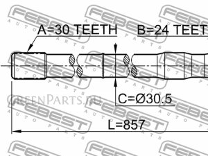 Полуось на Toyota Land Cruiser HDJ80, HDJ81, HZJ80, HZJ81, FZJ80G, HDJ81V, HZJ81V 1FZFE, 1HZ, 1HDT, 3FE, 3F, 1FZF, 1HDFT